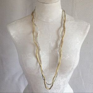 Anthro Bendy Silver & Gold Metal Artisan Necklaces